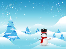 Winter Background With Snowman And Christmas Trees.