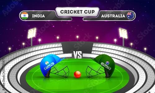 Cricket tournament, India vs Australia match banner design, cricket attire helmets with winning trophy on night stadium background Wallpaper Mural