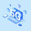 Creative 5G network wireless technology vector concept isometric smartphone with high speed internet