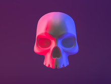 3d Human Skull Isolated Neon R...