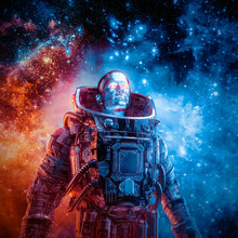 Between New Frontiers / 3D Illustration Of Science Fiction Scene With Heroic Robotic Astronaut Surrounded By Glowing Galaxies In Outer Space