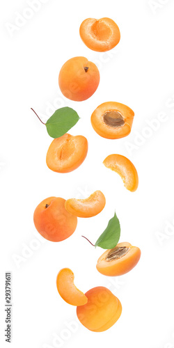 Fototapeta Collage of falling fresh ripe apricots on white background