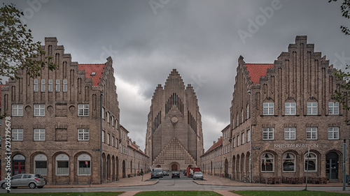 Copenhagen Grundtvigs Church Panorama Canvas Print