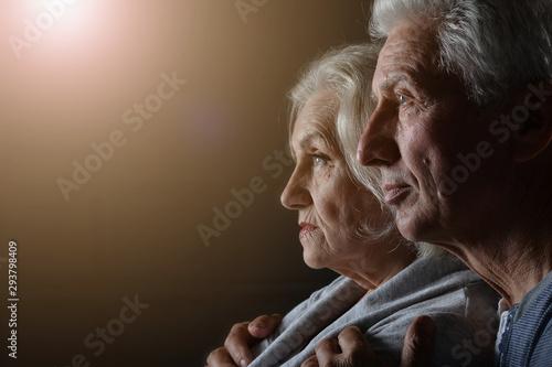canvas print motiv - aletia2011 : Portrait of a sad senior couple posing at home