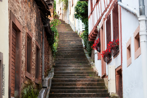 Old staircase street in Niederbronn les Bains in France
