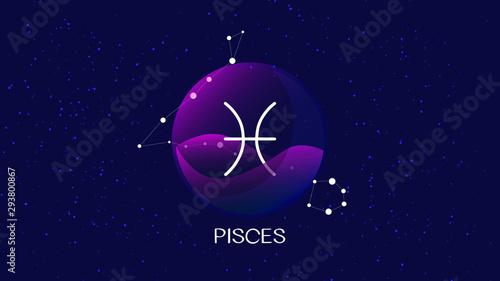 Vászonkép Pisces sign, zodiac background