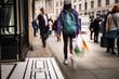 Motion blurred people walking on shopping street