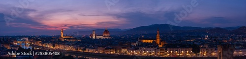 Fotografie, Obraz  Florence sunset very large high resolution panorama with all main florentine landmarks (cathedral, Palazzo Vecchio, Ponte Vecchio bridge, Arno river banks)