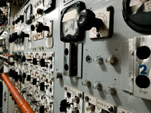 Control Room Machines Tools Meters Inside Of A Submarine