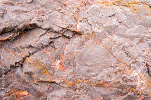 Stickers pour portes Marbre Close up of black cracked stone red colour