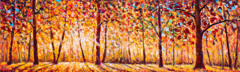 Autumn panorama Tree with Foliage Original oil painting on canvas art. Impressionism Autumn illustration