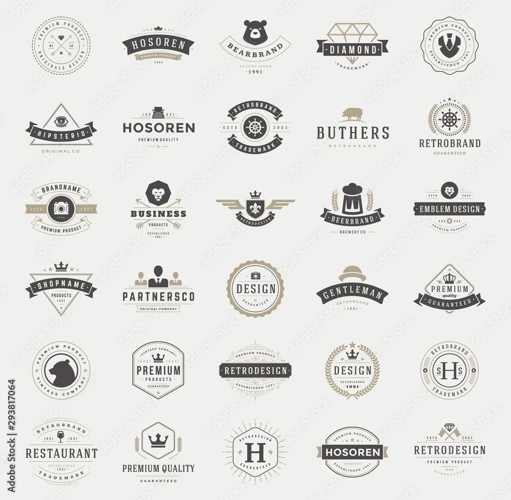Fototapeta Retro vintage logotypes and badges set typopgraphic design elements vector illustration