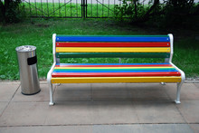 Colorful Wooden Bench And Outd...