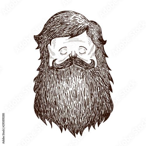 Engraving Illustration Movember Shaggy Wallpaper Mural