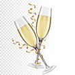 Two glasses of champagne, isolated on transparent background.