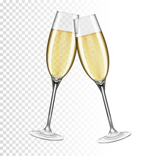 Two Glasses Of Champagne, Isol...