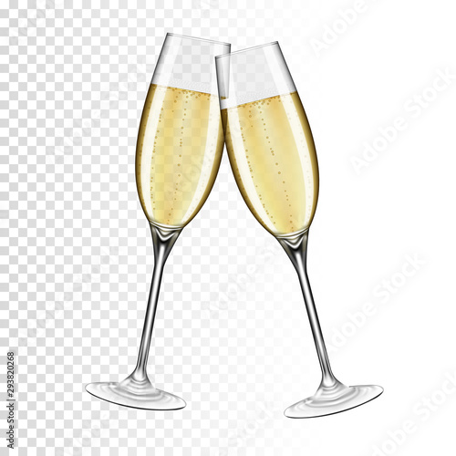 Fotografía  Two glasses of champagne, isolated on transparent background.