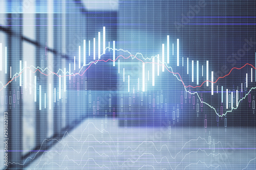 Fotomural Double exposure of financial chart on empty room interior background