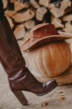 Women Boot And Pumpkin In Leat...