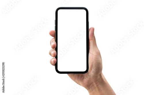 Hand holding smartphone isolated on white background.