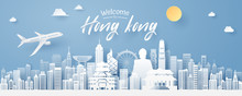 Paper Cut Of Hong Kong Landmark, Travel And Tourism Concept.