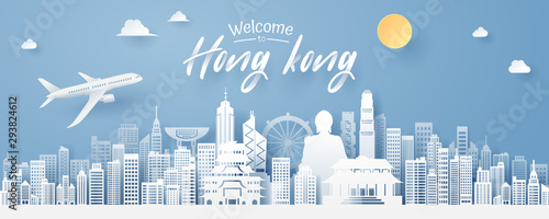 paper cut of Hong Kong landmark, travel and tourism concept. Canvas