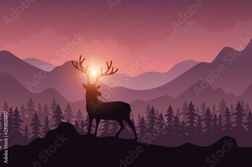Foto op Plexiglas Purper Forest landscape with deer in autumn season.