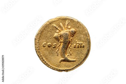 Fotografia, Obraz Roman gold aureus replica coin reverse of Roman Emperor Domitian AD 81-96  showi