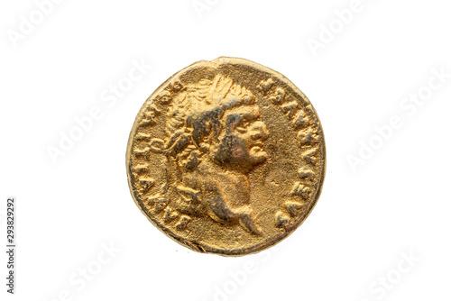 Roman gold aureus replica coin obverse of Roman Emperor Domitian AD 81-96  cut o Fototapet