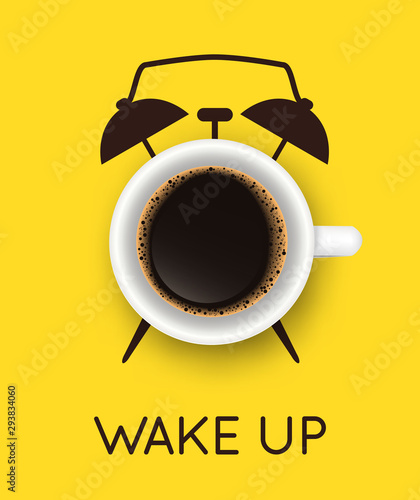 Fotografia Vector illustration with realistic cup of coffee and hand drawn alarm clock on yellow background