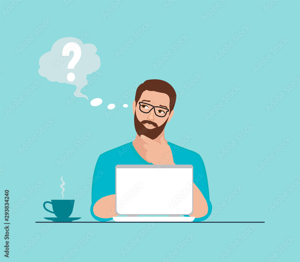 Fototapeta Vector of a thoughtful man working on laptop at workplace having some questions