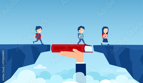 Vector of a teacher hand holding a book bridging the gap in primary education fo Fototapet