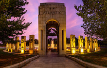 A Panorama Of The Atlantic Pavilion Of The World War II Memorial In Washington DC In The Evening.