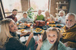 canvas print picture - Cheers. Photo of big family sit feast dishes table roasted turkey multi-generation relatives shooting selfies showing v-sign raising wine glasses in living room indoors