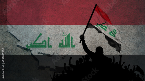 Canvas Prints Wall Decor With Your Own Photos Flag Of Iraq Protests