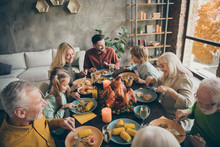 Above High Angle View Portrait Of Nice Cheerful Big Full Family Couples Brother Sister Eating Enjoying Season Domestic Meal Cuisine Dishes Gratefulness In Modern Loft Industrial Style Interior House