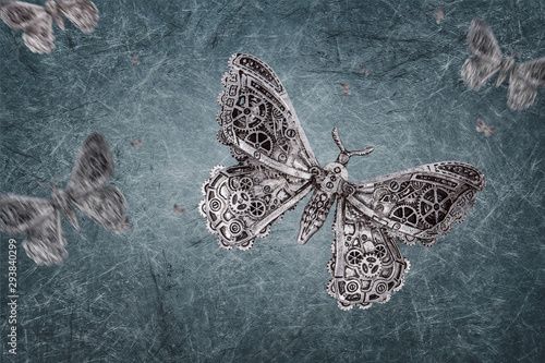 Printed kitchen splashbacks Butterflies in Grunge steampunk grunge Backdrop grey - Butterfly