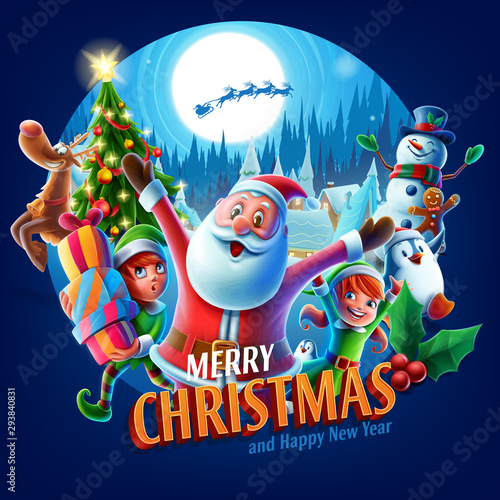 merry christmas greeting card - 293840831