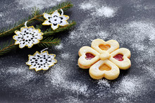 Linzer Cookies Of Two Colors With Handmade Crocheted Decoration