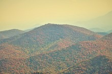 The Fantastic View From Brasstown Bald Mountain ( The Highest Mountain In Georgia) Colorful In Fall Season With Hazy Sky Before Sunset, Autumn In North Georgia In USA.