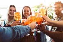 Group Of Happy Friends Drinkin...