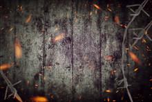Grunge Dark Backdrop - Barbwire And Sparkle