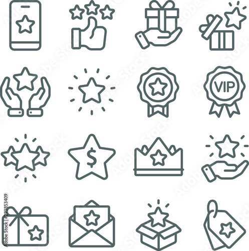 Cuadros en Lienzo Loyalty Program icons set vector illustration