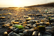 Glass Bottles Litter The Beach And Glimmer In The Evening Sunlight