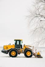 Winter Orange Tractor