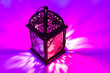 canvas print picture - Arabic lantern in colorful background. Ramadan, Eid concept