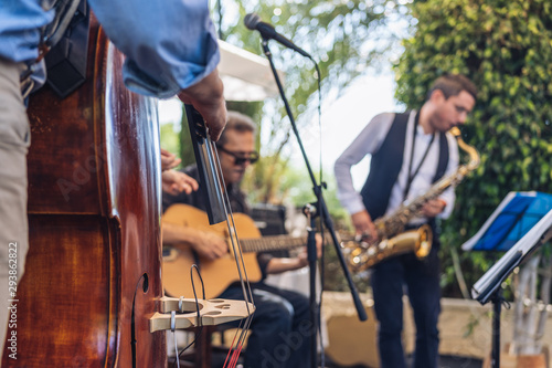 band of jazz and swing on stage outdoor Canvas Print