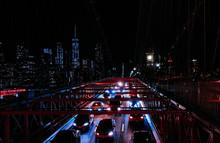 The Brooklyn Bridge Illuminated At Night