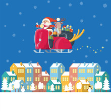 Santa Claus And Reindeer Ridin...