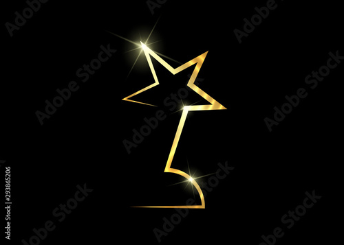 HOLLYWOOD  Movie PARTY Gold STAR AWARD Statue Prize Giving Ceremony Wallpaper Mural